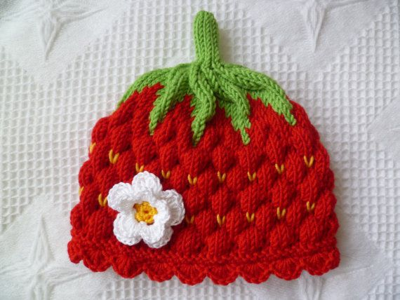 Knitting Pattern For Strawberry Hat : Knitting pattern baby hat, -strawberry- Circumference: 14,5 inch / 36?