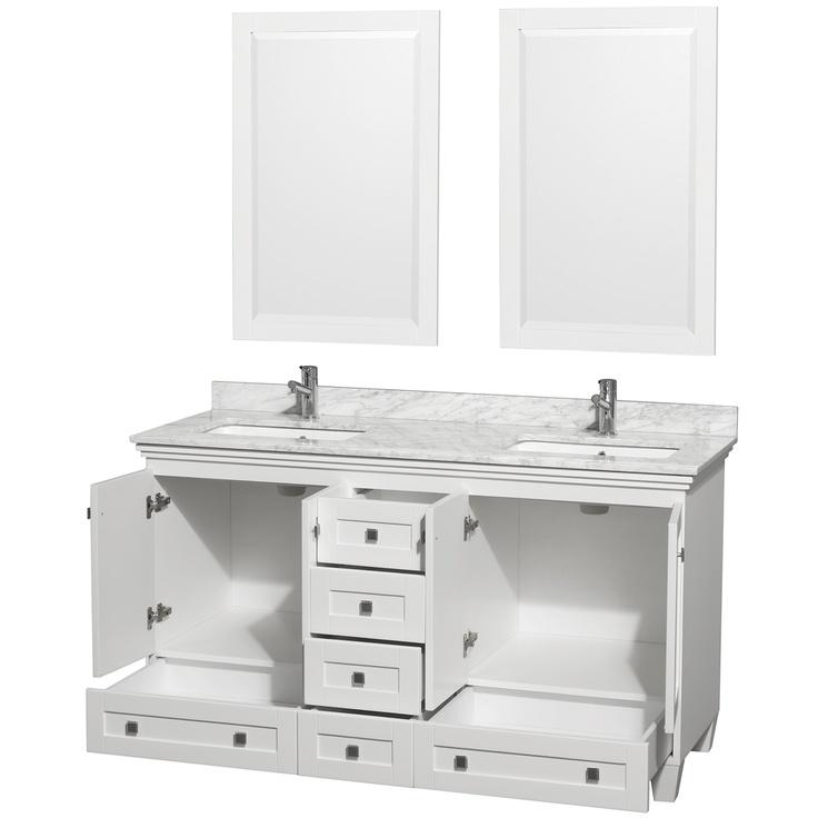 Acclaim White Carrera Marble 60 Inch Double Bathroom Vanity Set