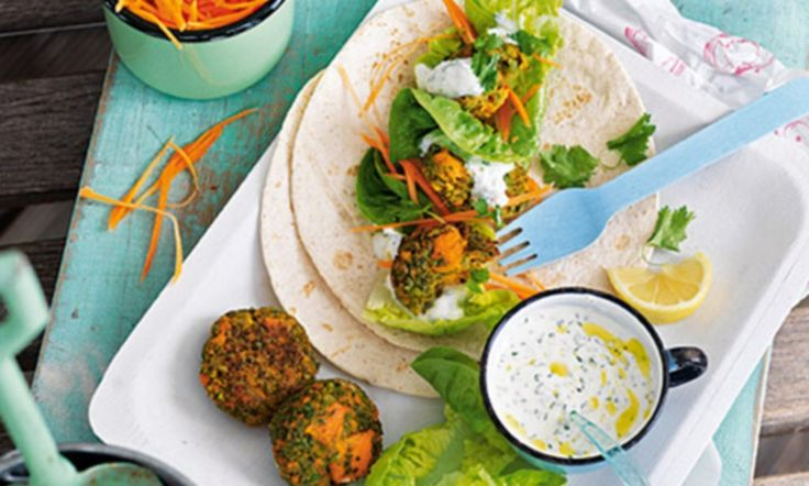 Sweet potato and pea falafel with yogurt and herb sauce. Recipe from ...