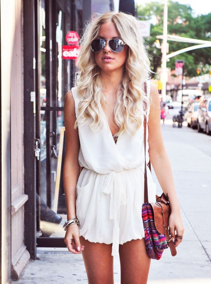 pocket wallet white romper cute look  Oh LaLa