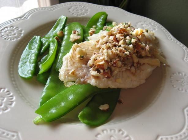 Pan Seared Tilapia With Almond Browned Butter and Snow Peas | Recipe