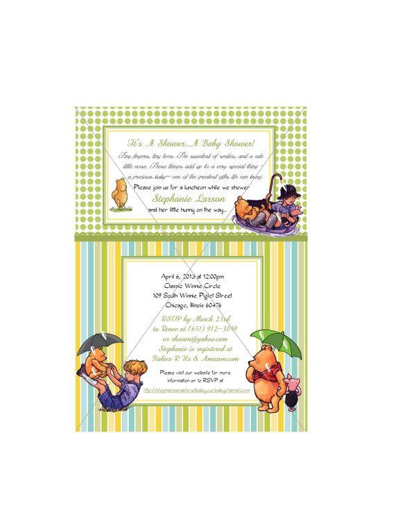 winnie the pooh baby shower invitation bean pinterest
