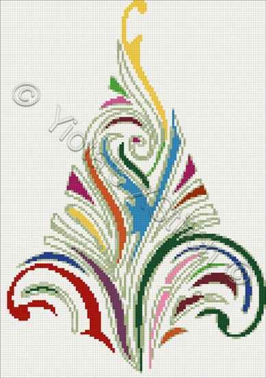 Swirly Christmas tree No 4 cross stitch | Yiotas XStitch