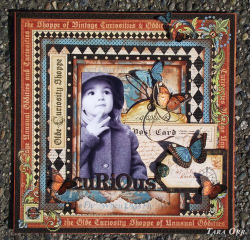A beautiful Olde Cuiriosity Shoppe LO by @Tara Orr! Love how she not only fussy cut the butterflies but the photo too! So much dimension and beauty on this page! Lovely! #graphic45