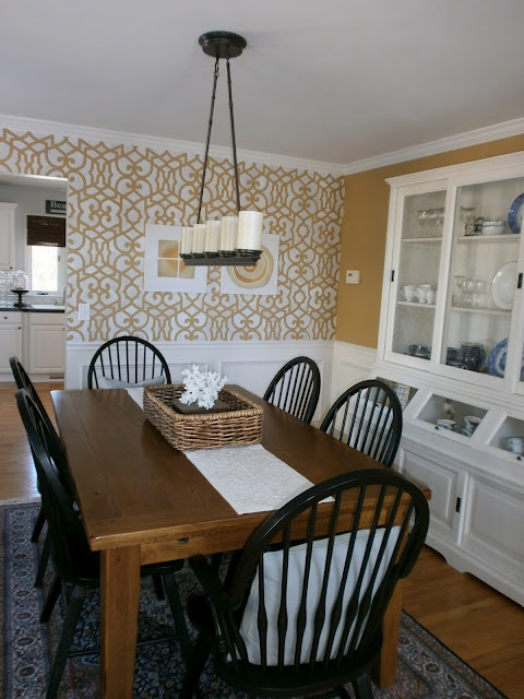 Farmhouse table and black chairs  Kitchen Dining Room  Pinterest