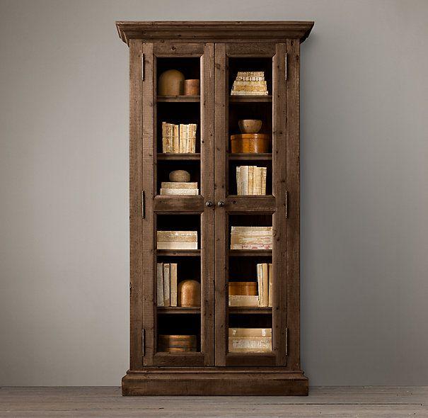 Salvaged wood glass door cabinet kelowna home pinterest - Restoration hardware cabinets ...