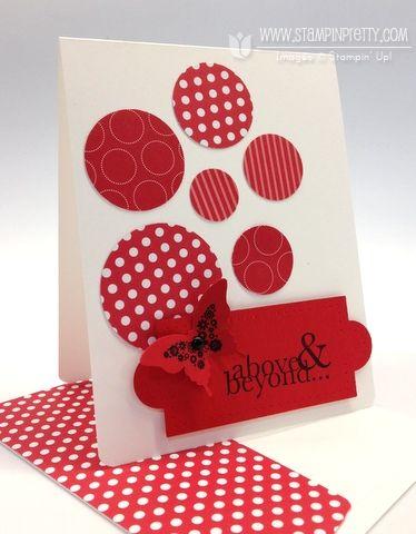 "Stamp Set:  Papillon Potpourri (Wood-Mount 123757, Clear-Mount 123759), One in a Million (Wood-Mount 126380, Clear-Mount 126382)  Paper:   Polka Dot Parade Designer Series Paper (126902), Brights Designer Series Paper Stack (117155), Real Red (102482), Whisper White (100730)  Ink:  Basic Black (126980)  Cool Tools:  Elegant Butterfly Punch (127526), 1 3/4"" Circle Punch (119850), 1 3/8"" Circle Punch (119860), 1 1/4"" Circle Punch (119861), 1"" Circle Punch (119868), 3/4"" Circle Punch (119873), 3/16"