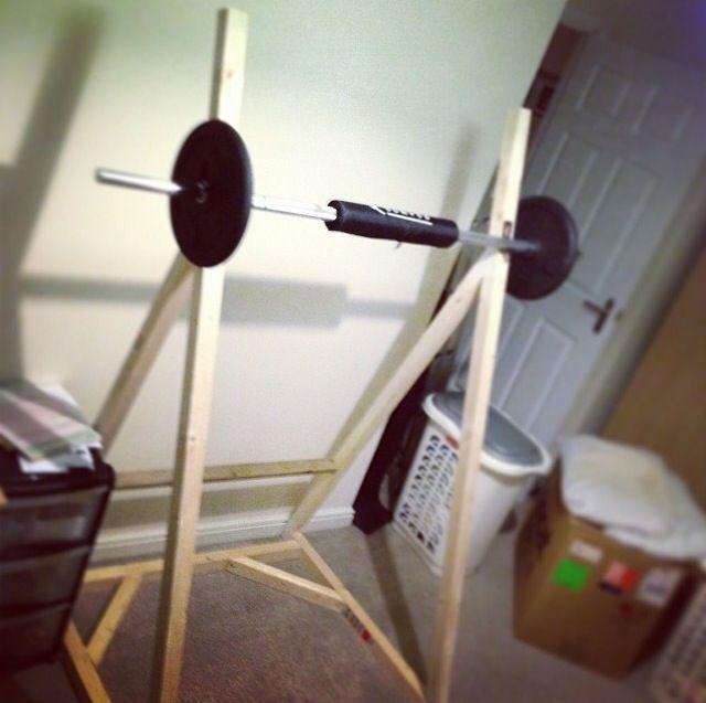 Homemade Squat Rack made from Wood | phytness | Pinterest