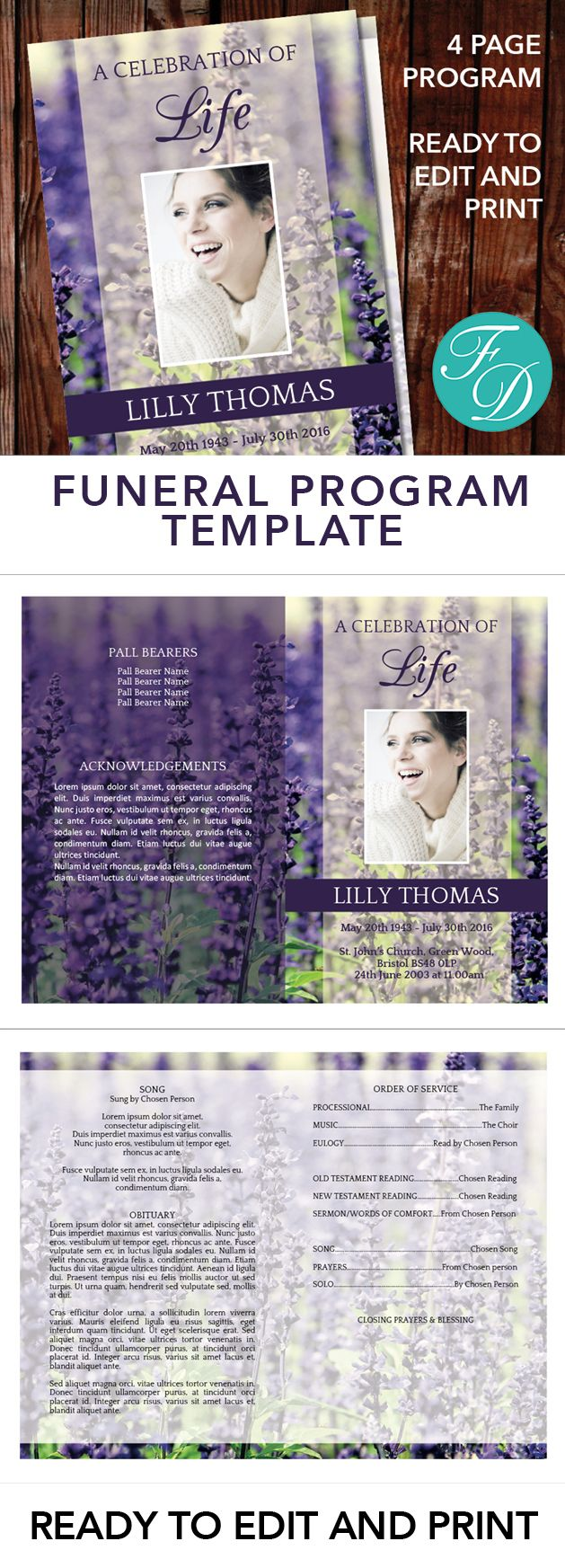 Lavender Printable Funeral program ready to edit & print. Simply purchase your funeral templates, download, edit with Microsoft Word and print. #obituarytemplate #memorialprogram #funeralprograms #funeraltemplate #printableprogram #celebrationoflife #funeralprogamtemplates