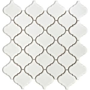 Lantern 12-1/2 in. x 12-1/2 in. White Porcelain Mesh-Mounted Mosaic at The Home Depot | Just ordered!