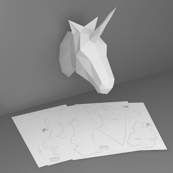 unicorn 3d papercraft model downloadable diy template