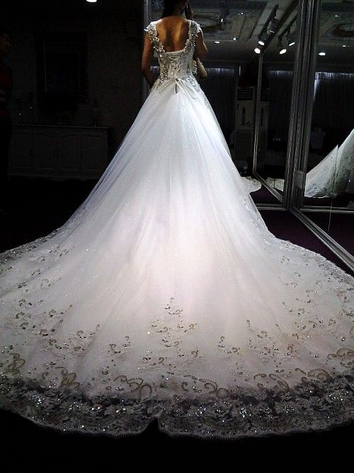 Ball gown off the shoulder court train lace big crystals for Big ball gown wedding dress