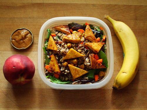 and romaine salad with wild rice & mushrooms, carrot, teriyaki tofu ...