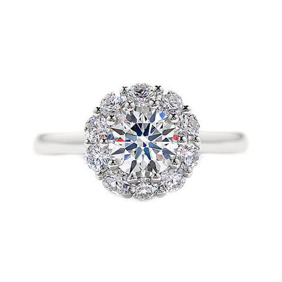 Round Diamond Engagement Ring Halo Setting Solitaire 14K White Gold C…