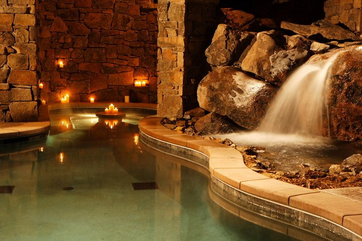 Indoor pool with a waterfall wow perfect patios for Luxury pools with waterfalls