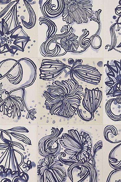 wallpaper anthropologie blue white pinterest