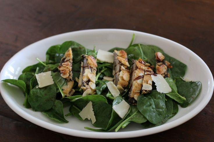 Almond Encrusted Portobello Mushroom and Spinach Salad Recipe