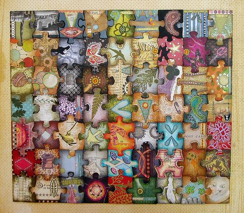 Take and old puzzel & decoupage each piece with whatever... surprise yourself!