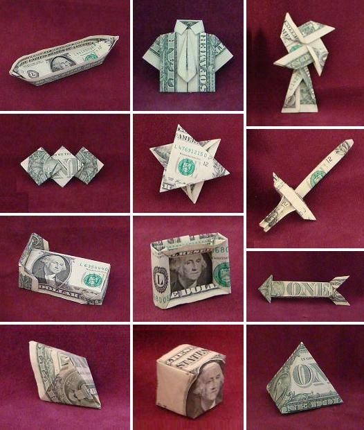 Dollar bill origami money origami pinterest for How to make things from paper folding