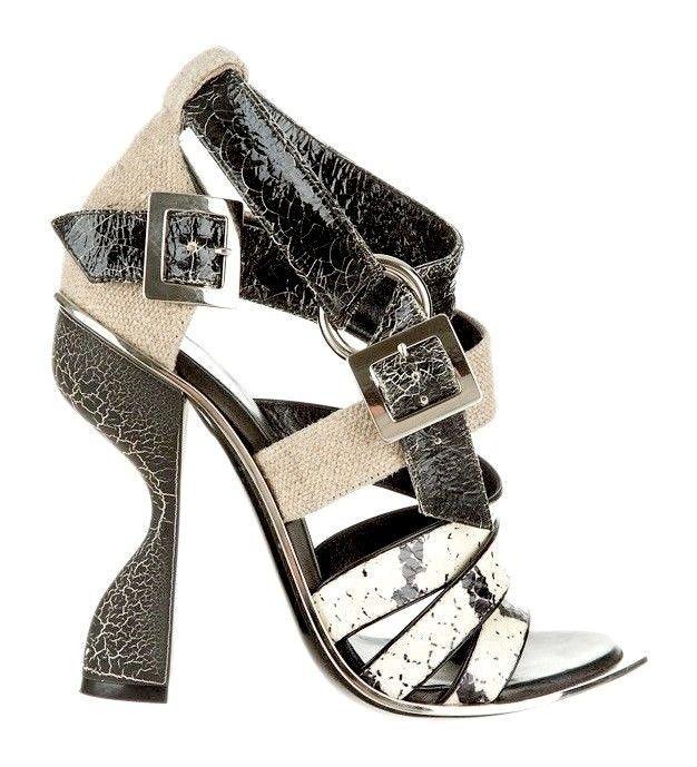 Balenciaga Blade Shoes - Black Silver Leather Sandals