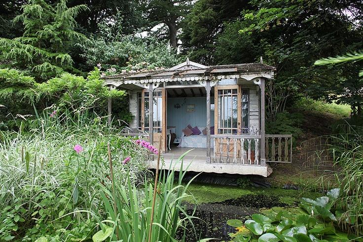 backyard beach hut on a little lagoon into the garden pinterest
