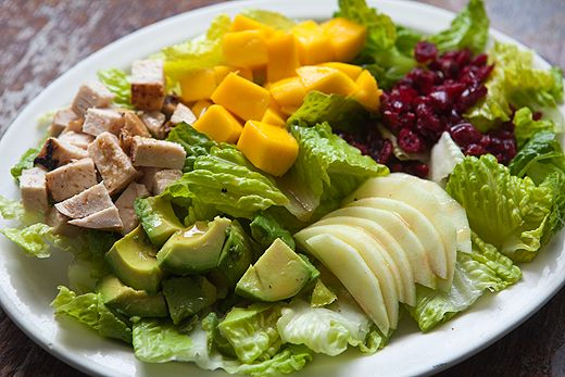 Un-Cobb Salad...This has grilled chicken breast, avocado, apple, mango ...