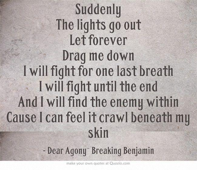 Dear Agony~ Breaking Benjamin | quotes