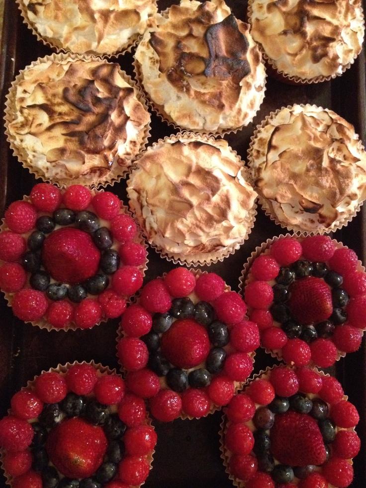 Fresh fruit tart & lemon merengue pies By www.sweetaddictioncake.com