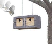 The goal of this project was to design a birdhouse using the element of surprise.  A cinder block hanging from a tree is definitely a surprising sight.  The bird houses could also be stacked on the ground to created a bird apartment building! - Mathew Zurlinden