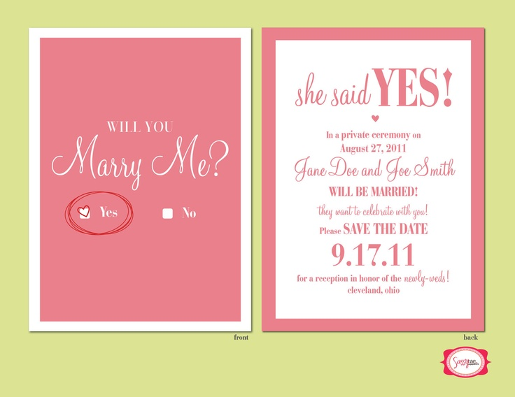 Check Yes or No Wedding Announcement/Reception InviteDeposit Only
