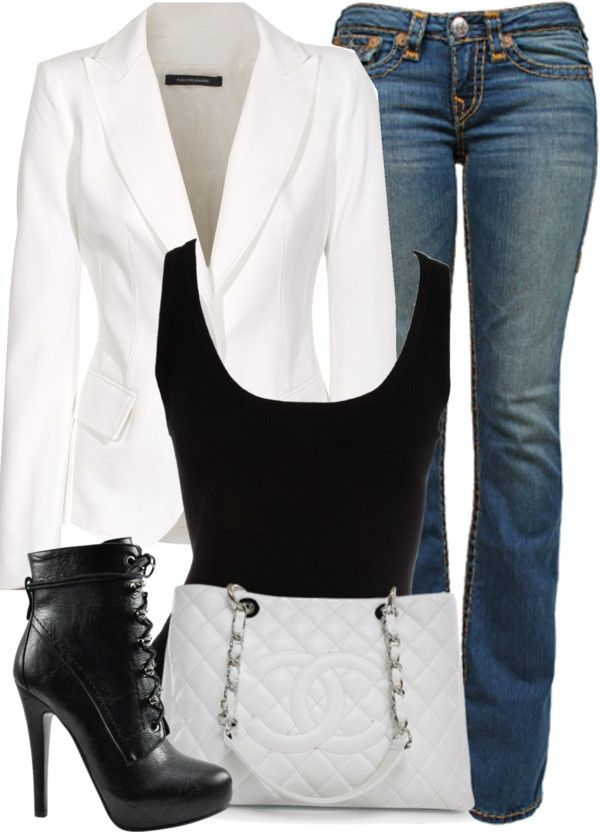 "Pinterest Fashion white blazer | White Blazer, Black Tank Top, and Blue Jeans"". 