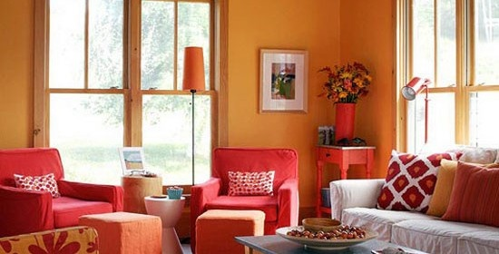Orange Living Room White And Red Chairs Orange House Ideas Pinte