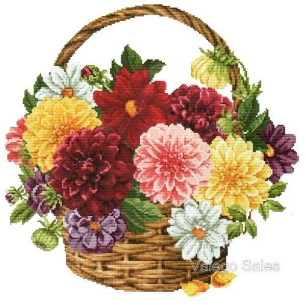 Flower Baskets Cross Stitch Charts : Ellen maurer stroh cross stitch chart dahlia basket