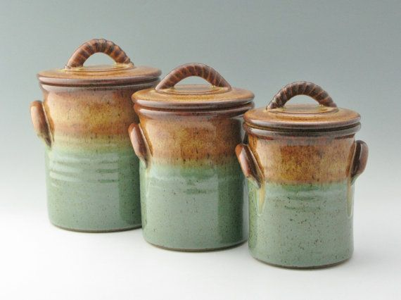 set of 3 lidded pottery canisters honey sage green