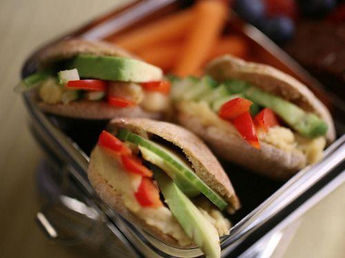 Hummus and Veggie Pita Pockets | GOOD EATS | Pinterest