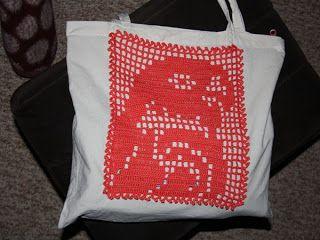 Plátená taška s filetovou aplikáciou - vreckom. / Bag with fillet ...