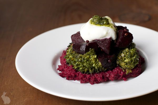 beautiful cooking, looks delicious. beet-hummus, roasted broccoli and ...