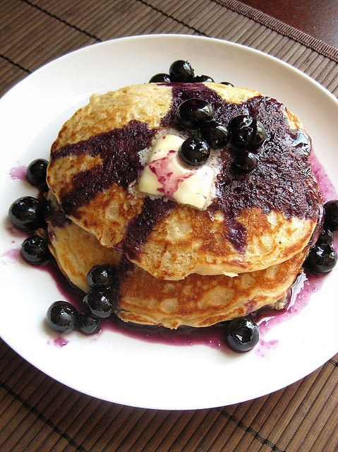Whole Wheat Buttermilk Pancakes with Blueberry Maple Syrup