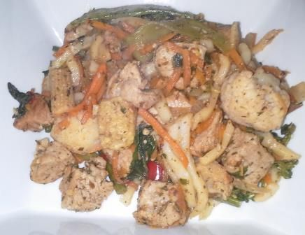 ... Spice Blend, diced pork, onion, frozen stir fry vegetables and udon