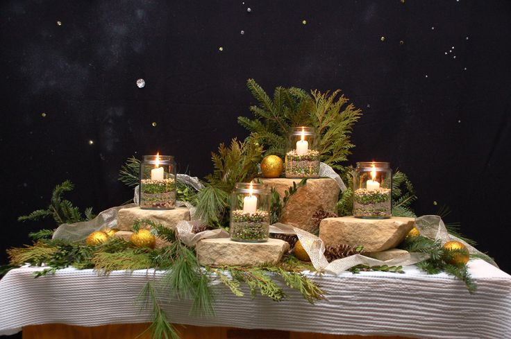 Advent candle display - natural elements | Christmas | Pinterest