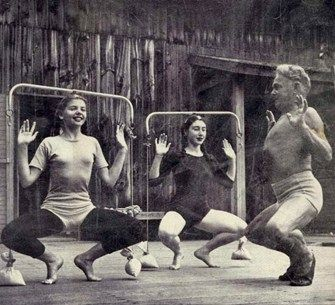 Jacobs Pillow ~ LIFE MAGAZINE story, 1947. Joseph Pilates, originator of the noted Pilates exercise regime, teaching exercise class to dancers at the Pillow.#Repin By:Pinterest++ for iPad#