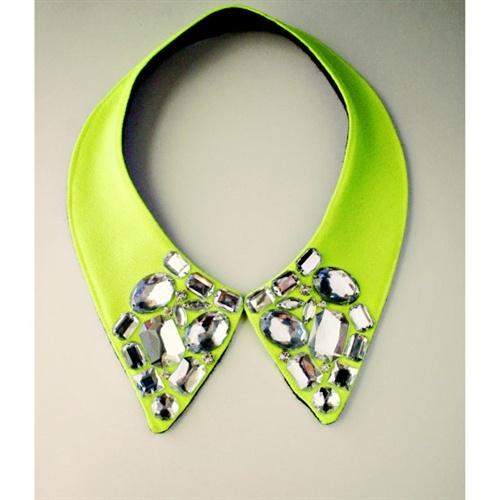 Neon rhinestone collar.
