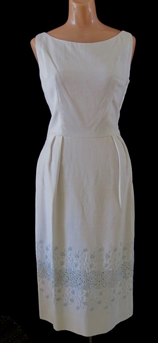 Home › vampofvintage › Dresses and Suits  Vintage 60s White Irish Linen dainty Blue Embroidered Lily of the Valley Man Men Hourglass Curvy Dress
