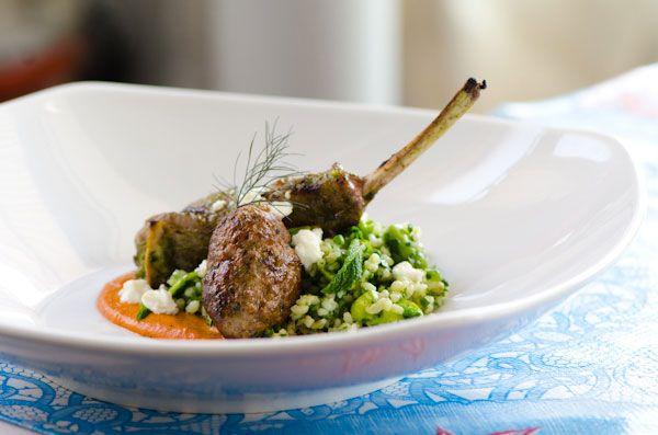 Lamb Chop and Kefte, Spring Tabbouleh, Feta, and Pecan Muhummara
