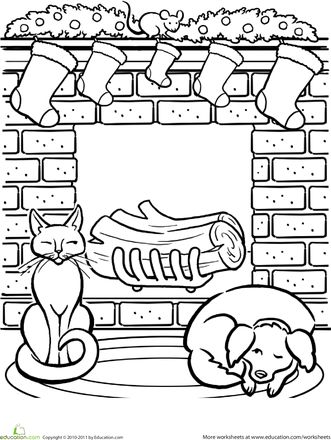 Worksheets christmas fireplace coloring page