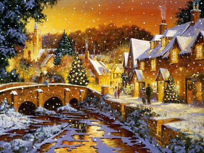 beautiful christmas scene seasons greetings pinterest. Black Bedroom Furniture Sets. Home Design Ideas