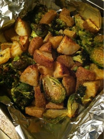 Vegan wifestyle cheesy roasted veggies
