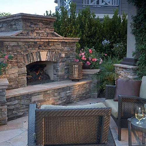 Outdoor Fireplace Stacked Stone Fireplace Pinterest