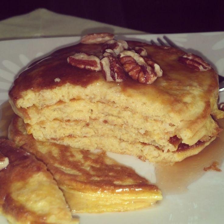 Pumpkin Spice Protein Pancakes- Ingredients: 1 scoop vanilla protein ...