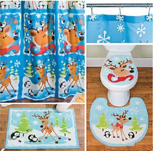 whimsical holiday bathroom set reinde christmas pinterest